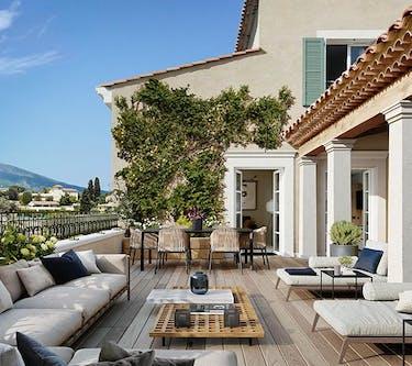 Chemin des Comtes de Provence au Rouret : terrasse MEDIAS MOBILE
