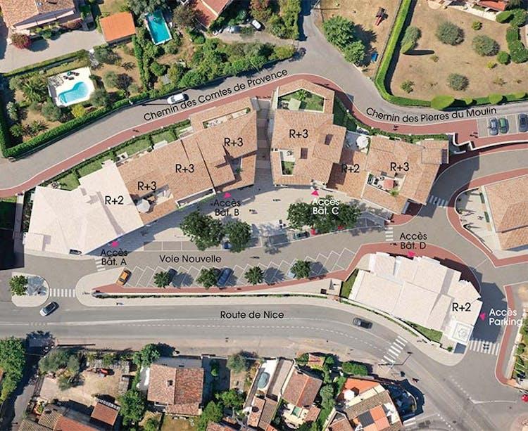 """Plan masse du programme immobilier neuf au Rouret """"Chemin des Comtes de Provence"""""""