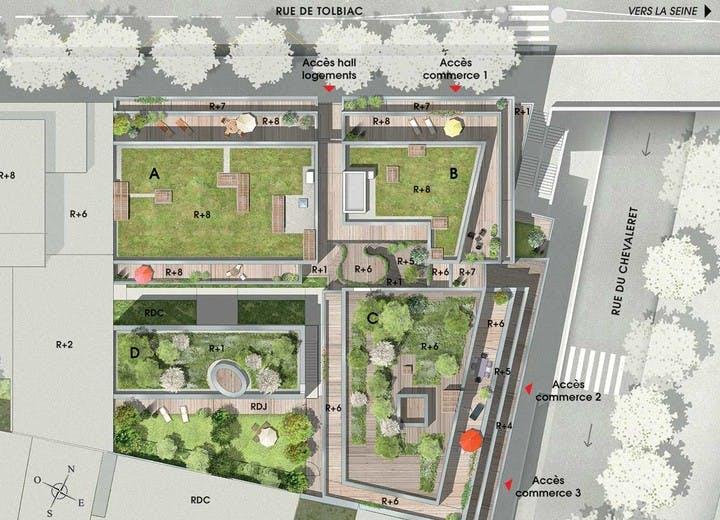 Programme immobilier 7 rue de Tolbiac à Paris 13 : plan masse