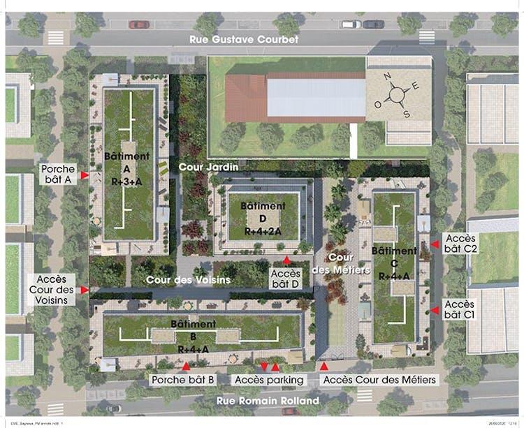 Plan masse du programme immobilier Rue Gustave Courbet à Bagneux