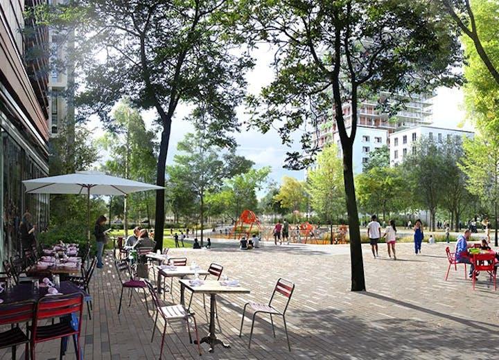 La place centrale de l'écoquartier Seine Ouest à Asnières-sur-Seine