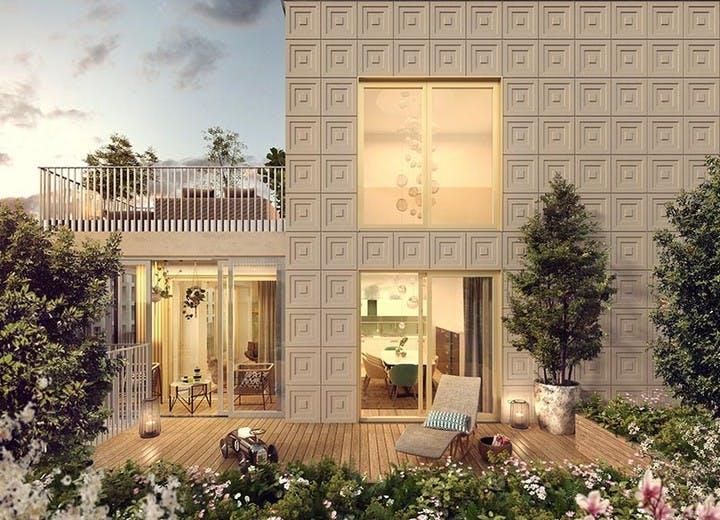 Terrasse d'un appartement duplex de la résidence Ateliers Vaugirard chapitre 2 à Paris 15