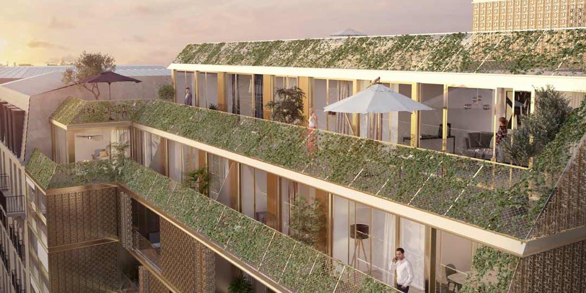 Les terrasses du programme immobilier neuf Ateliers Vaugirard chapitre 1 à Paris 15