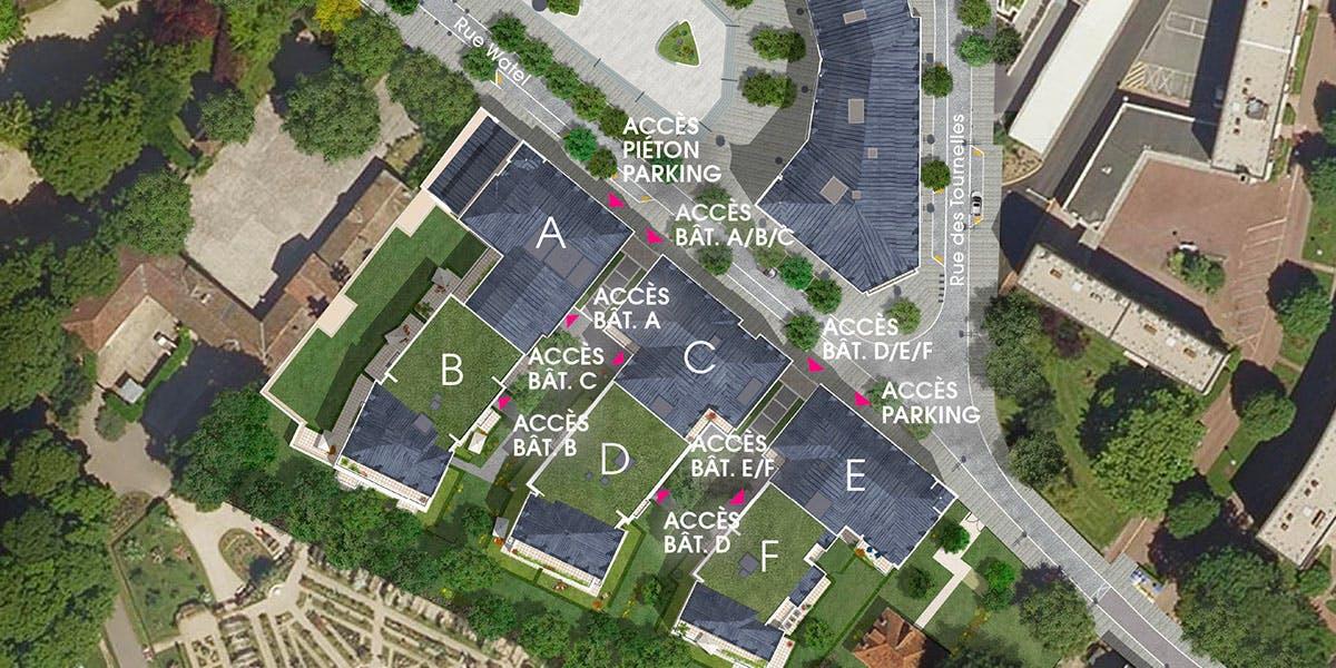 Plan de masse du programme immobilier neuf Quartier de la Roseraie à L'Haÿ-les-Roses