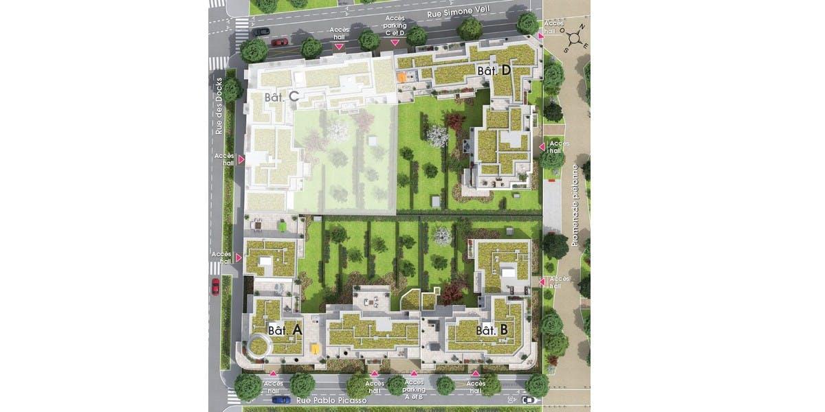 Plan masse du programme immobilier neuf Rue Pablo Picasso à Saint-Ouen