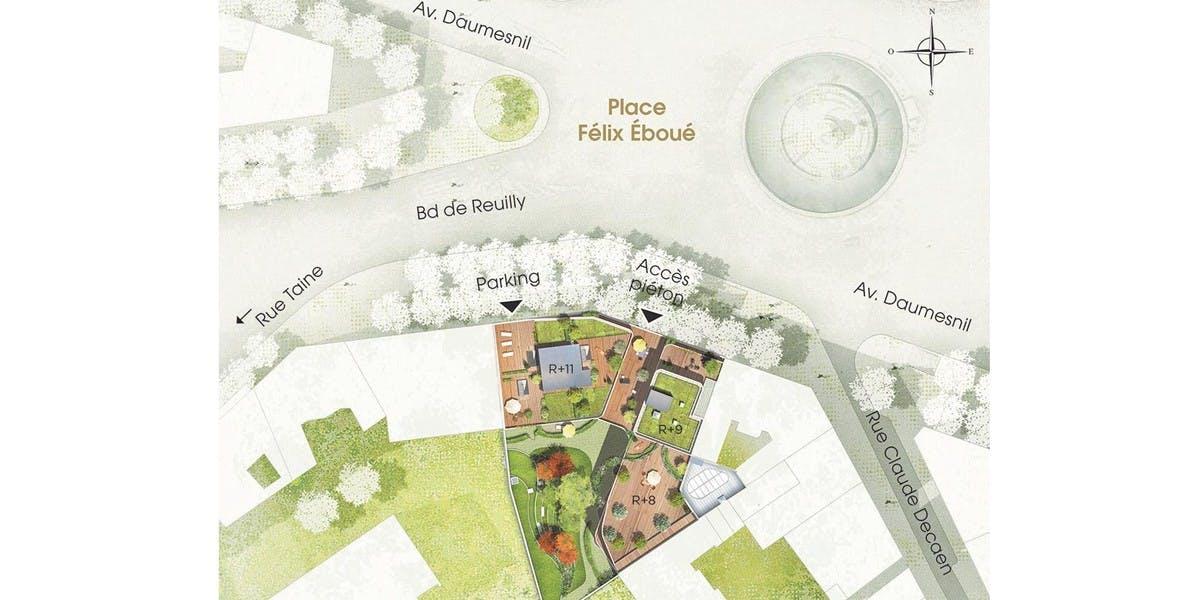 Plan masse du programme immobilier neuf Place Félix Eboué à Paris 12