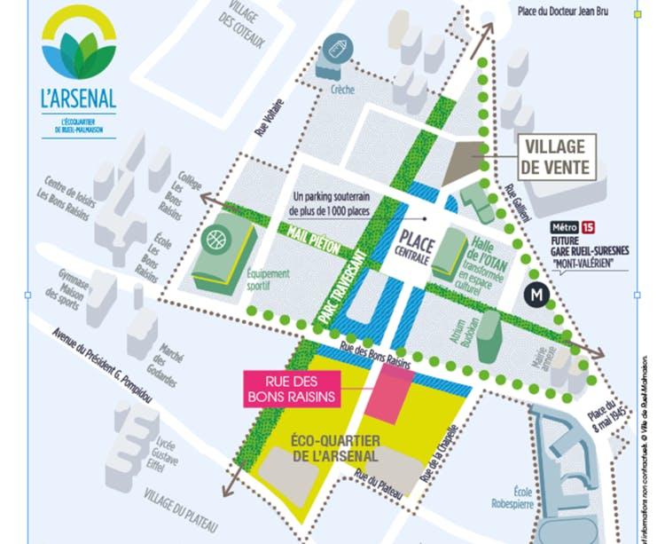 Rue des Bons Raisins à Rueil-Malmaison : plan zac