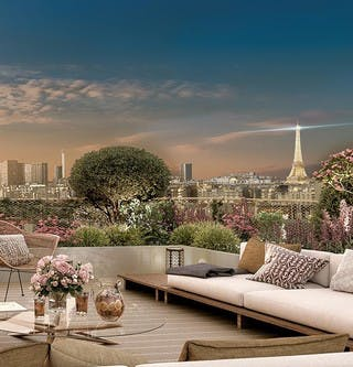 Terrasse d'un appartement neuf de Paris 15 Vaugirard