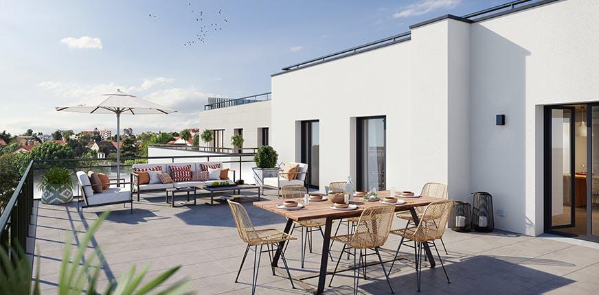 Terrasse du programme immobilier neuf 60 avenue Didier à Saint Maur