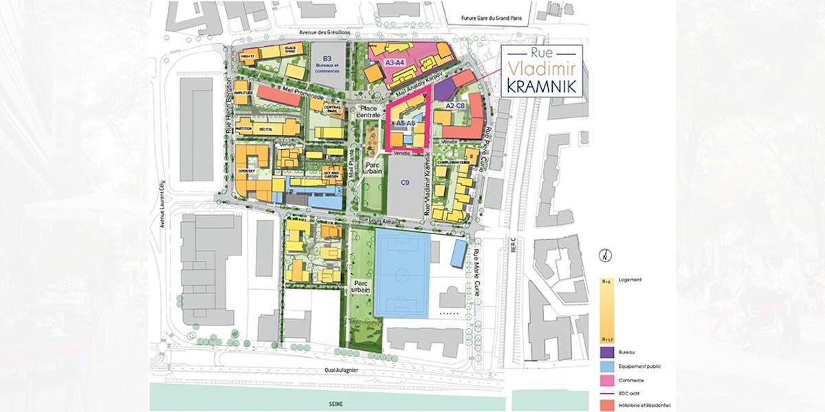 Programme immobilier neuf Rue Vladimir Kramnik à Asnières : plan de la ZAC Seine Ouest