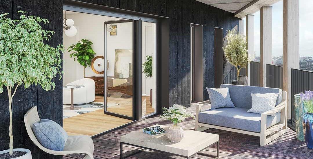 Balcon du programme immobilier neuf en bois Le Berlier à Paris 13