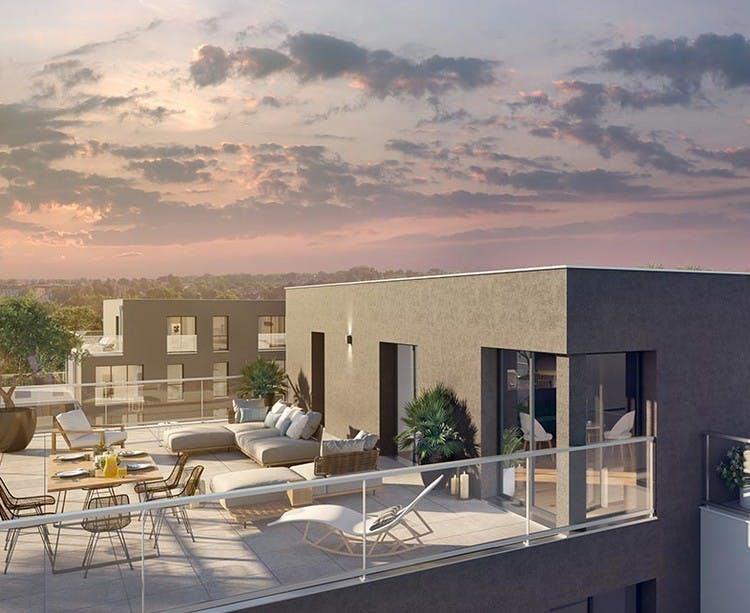 Terrasse d'un appartement du programme immobilier neuf 6 Rue Paul Héroult