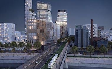 Le Berlier : perspective du quartier Bruneseau dans la ZAC Paris Rive Gauche