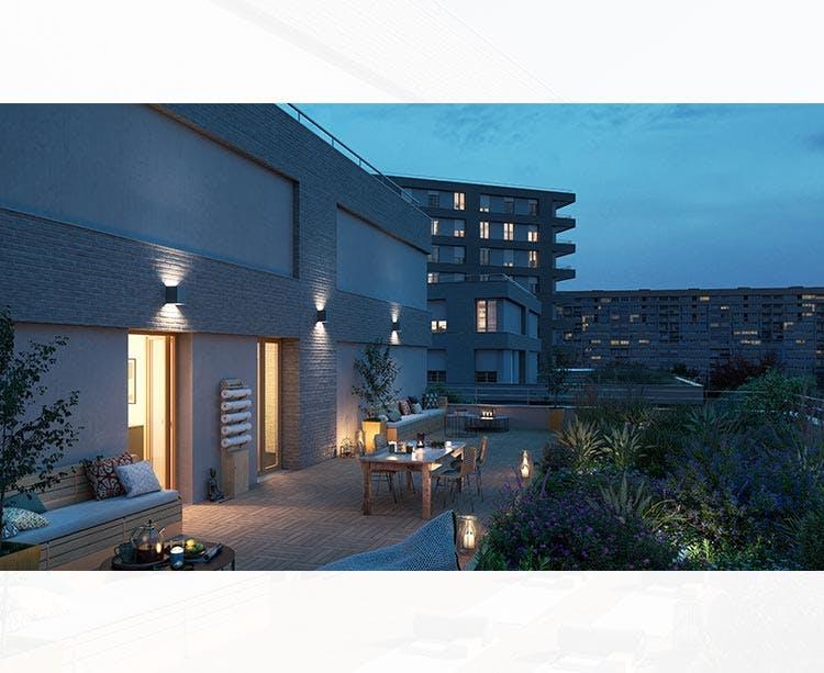 Terrasse d'un appartement du programme immobilier neuf Rue Claude Robert à Gennevilliers