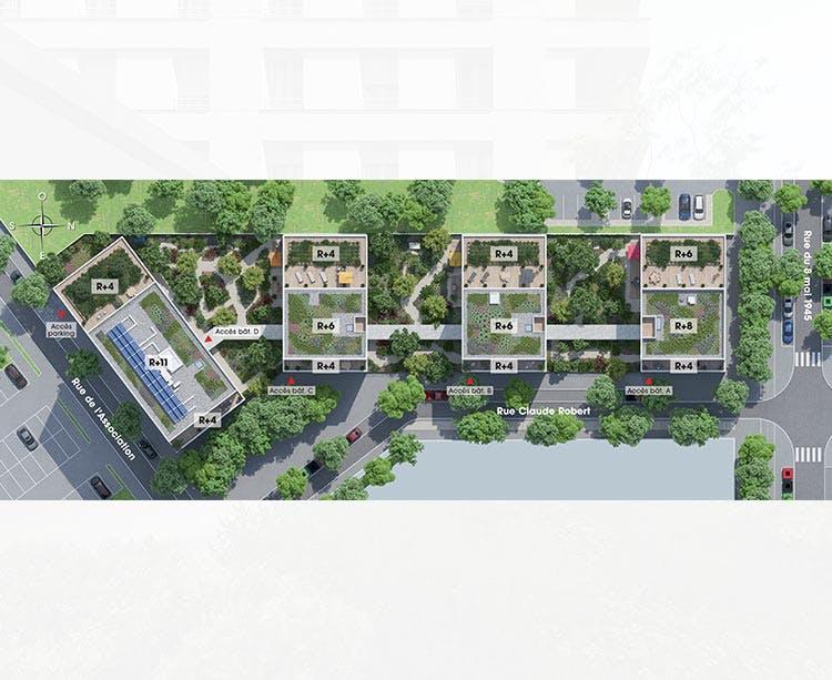 Plan masse du programme immobilier neuf Rue Claude Robert à Gennevilliers