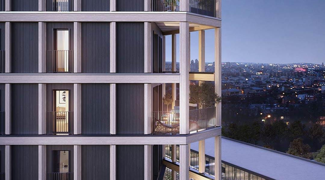 Loggias en façade de la résidence d'appartements neufs Le Berlier