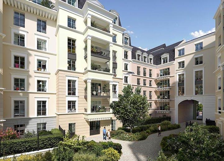 Le jardin paysager du programme immobilier 18 avenue Edouard Herriot au Plessis-Robinson