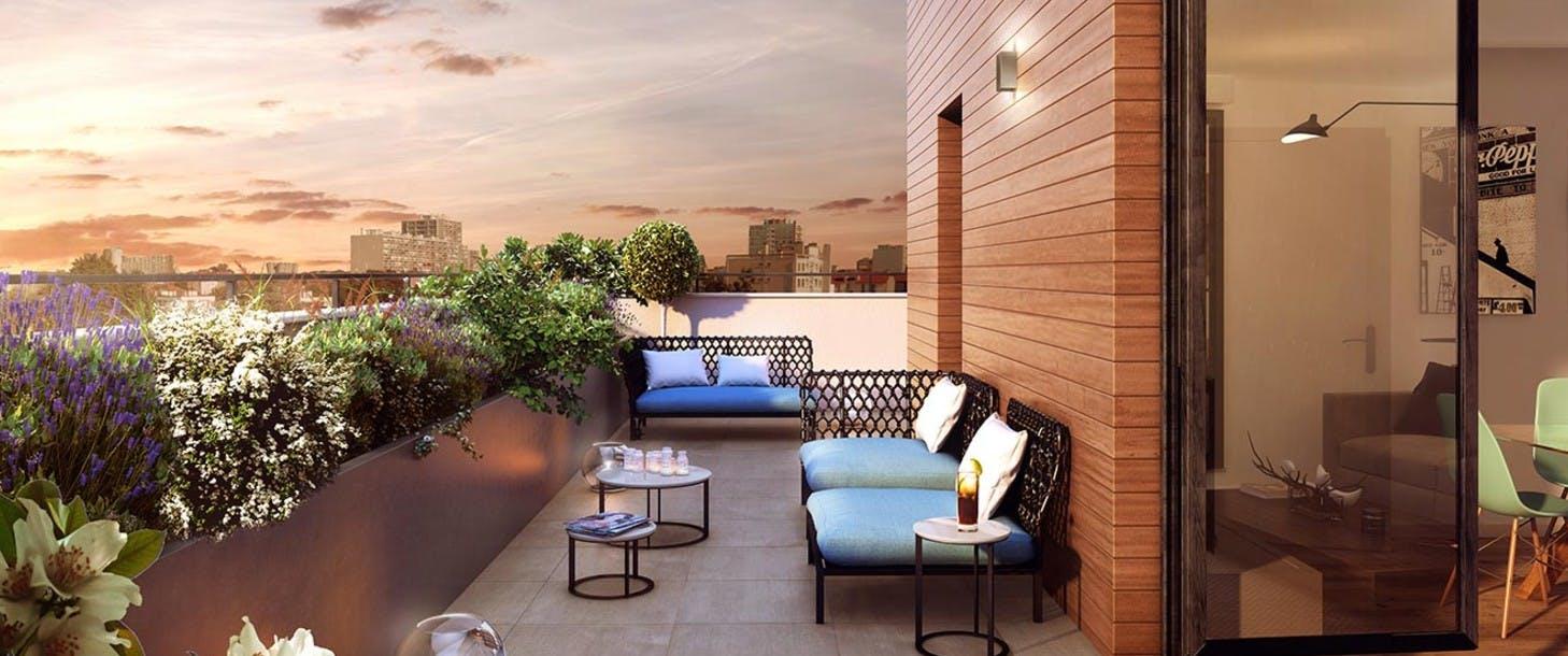 """Terrasse d'un appartement neuf du programme """"Les Terrasses d'Aragon"""" à Villejuif"""