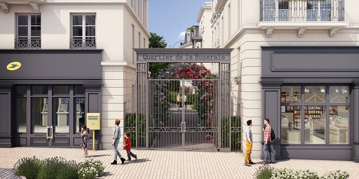 Entré du programme immobilier neuf Quartier de la Roseraie à L'Haÿ-les-Roses