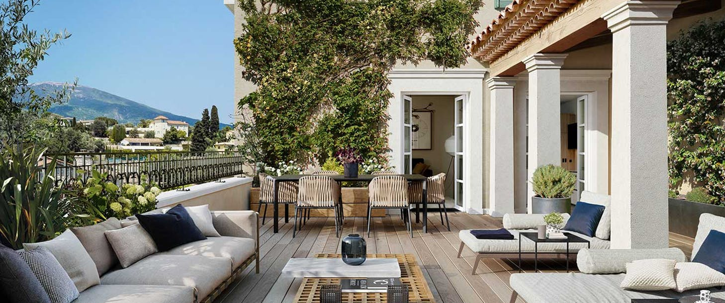"""Terrasse d'un appartement du programme immobilier neuf au Rouret """"Chemin des Comtes de Provence"""""""