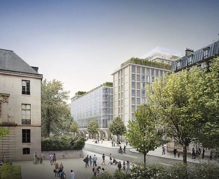 Programme immobilier Rue Agrippa d'Aubigné à Paris 4 Vu depuis la place du Père Teilhard de Chardin