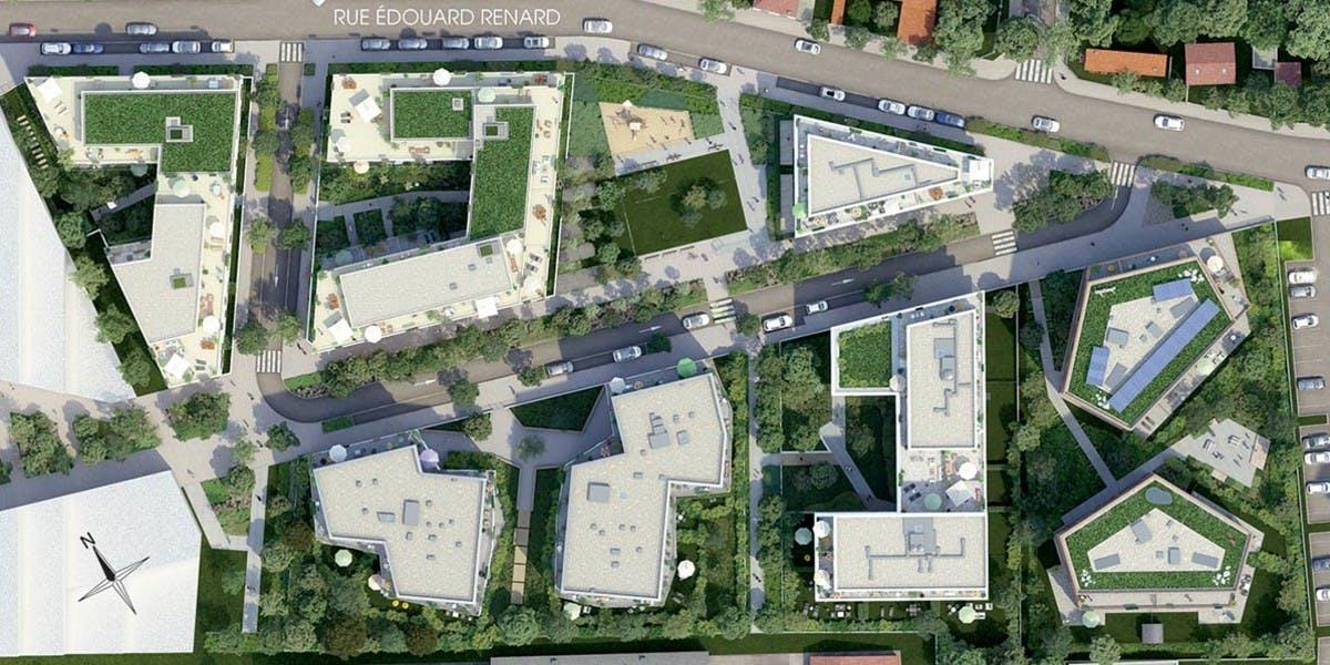 Rue Edouard Renard à Pantin : plan masse du quartier Les Pantinoises