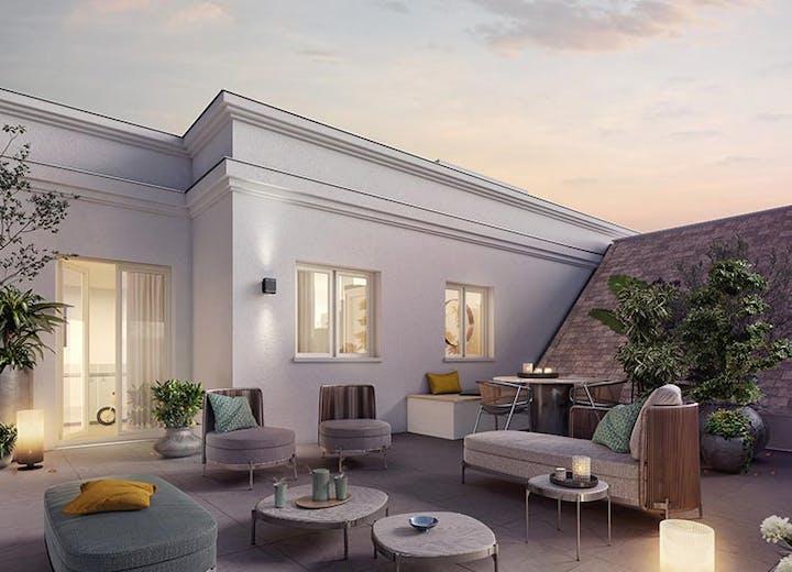 Terrasse d'un appartement neuf du programme immobilier Route du Plessis Piquet à Châtenay-Malabry