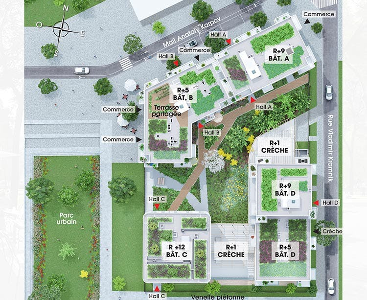 Plan masse du programme immobier neuf Rue Vladimir Kramnik à Asnières-sur-Seine