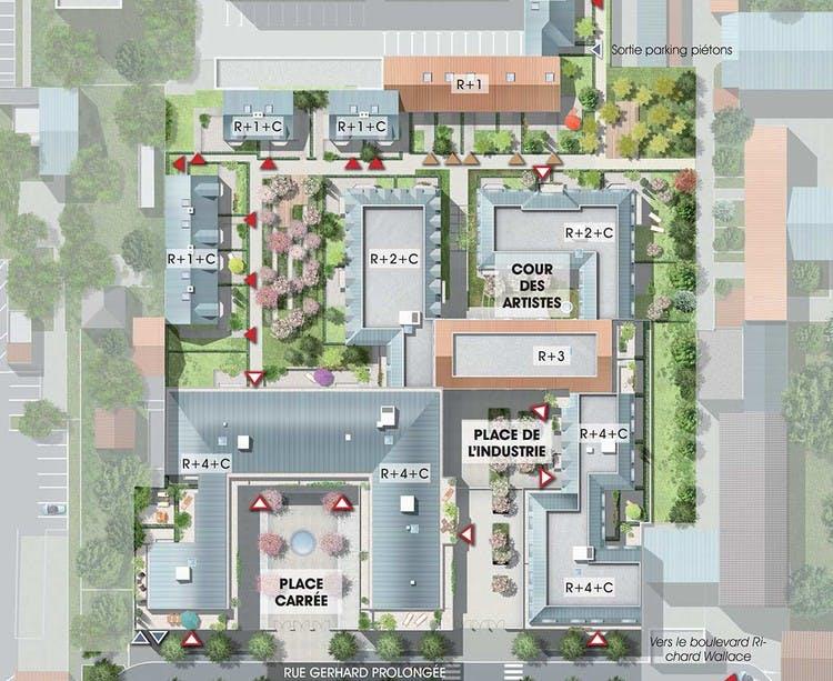 Quartier des Arts à Puteaux : plan masse