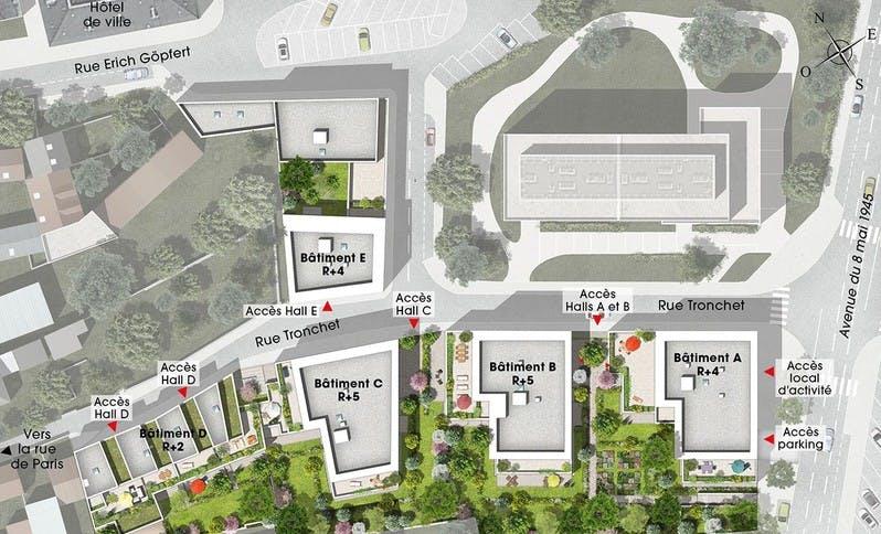 Plan masse du programme immobilier neuf Rue Tronchet à Palaiseau