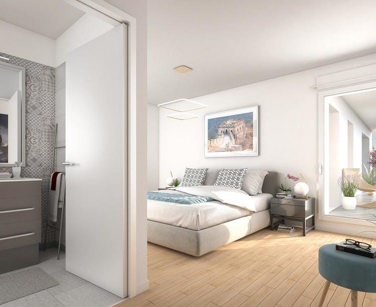 Chambre avec salle de bains du programme immobilier neuf 120 Danton à Levallois