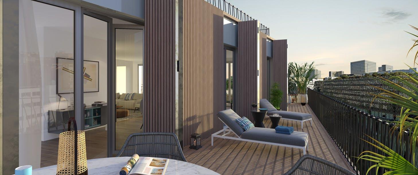 Programme immobilier 7 rue de Tolbiac à Paris 13 : terrasse