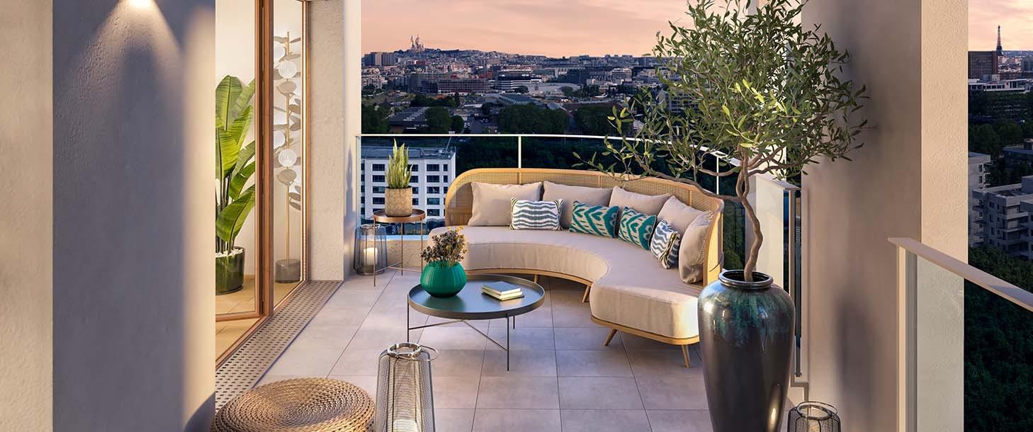 """Terrasse de nuit du programme immobilier neuf """"Rue Vladimir Kramnik"""" à Asnières-sur-Seine"""