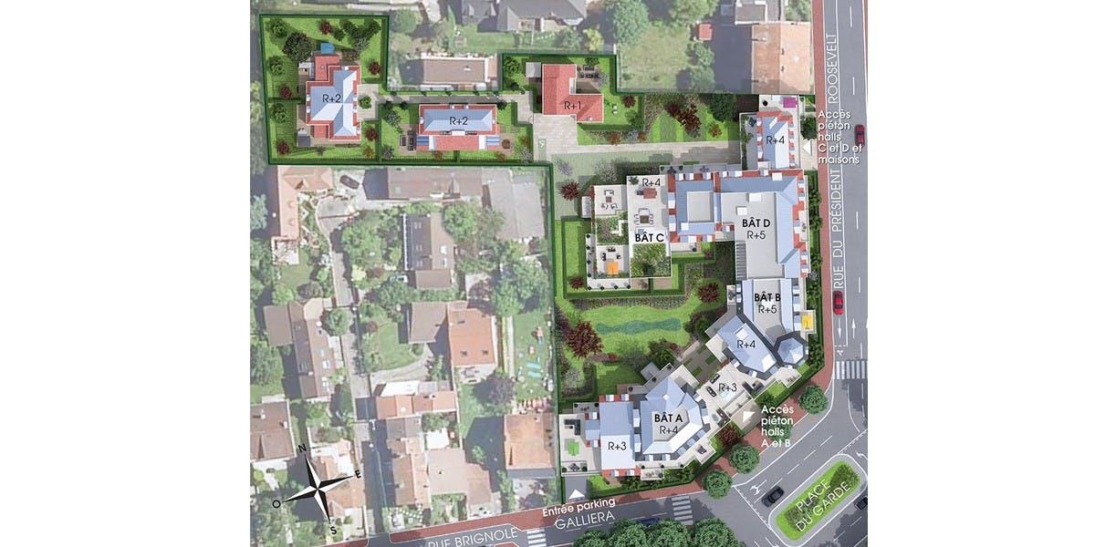 Plan masse du programme immobilier neuf Place du Garde à Clamart