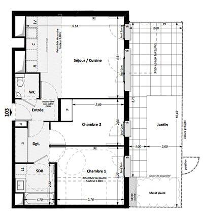 Rueil Rue des Bons Raisins : exemple de plan d'un 3 pièces avec jardin