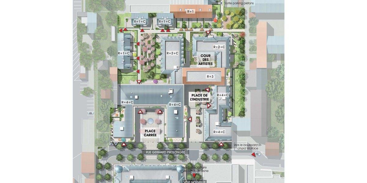 Plan masse du programme immobilier neuf Quartier des Arts à Puteaux