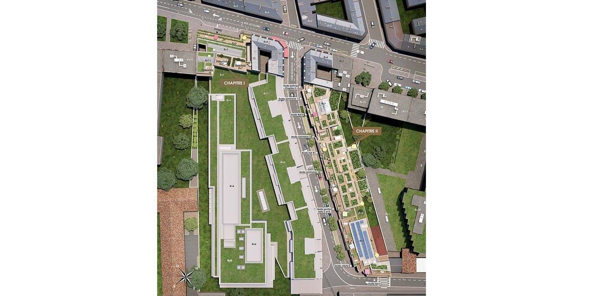 Plan masse du programme immobilier neuf Ateliers Vaugirard chapitre 1 à Paris 15