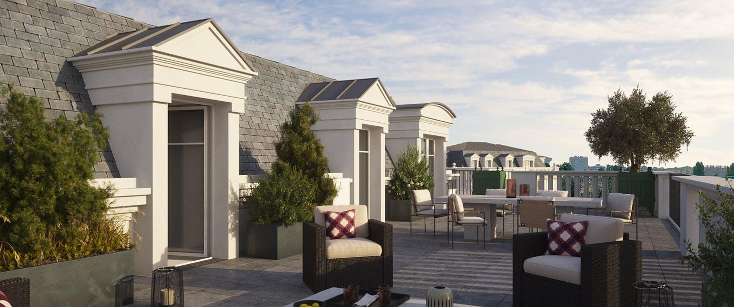 Terrasse du programme immobilier neuf 102 avenue Aristide Briand au Blanc-Mesnil