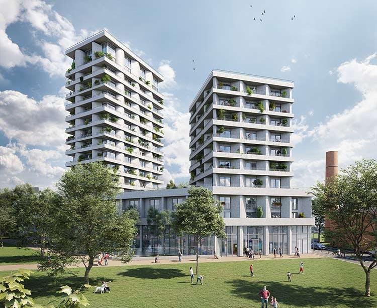 """Programme immobilier neuf à Ivry-sur-Seine """"11 Rue Galilée"""" depuis le parc Triangle"""