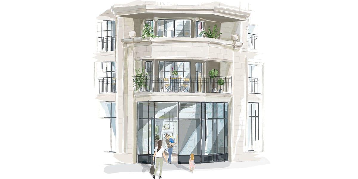 Croquis du hall du bâtiment D de la résidence neuve Rue Pablo Picasso à Saint-Ouen