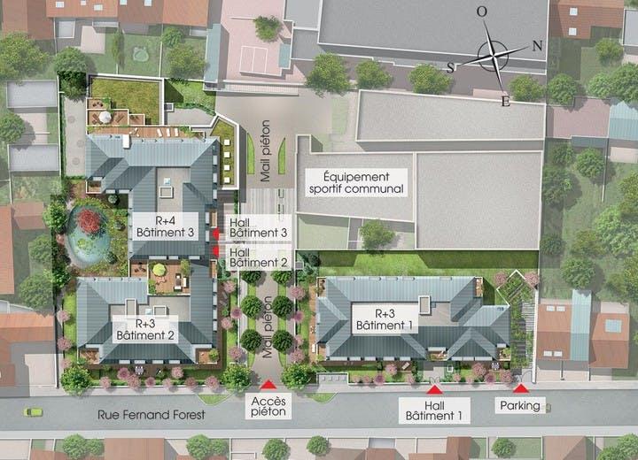 Plan masse du programme immobilier neuf 31 rue Fernand Forest à Suresnes