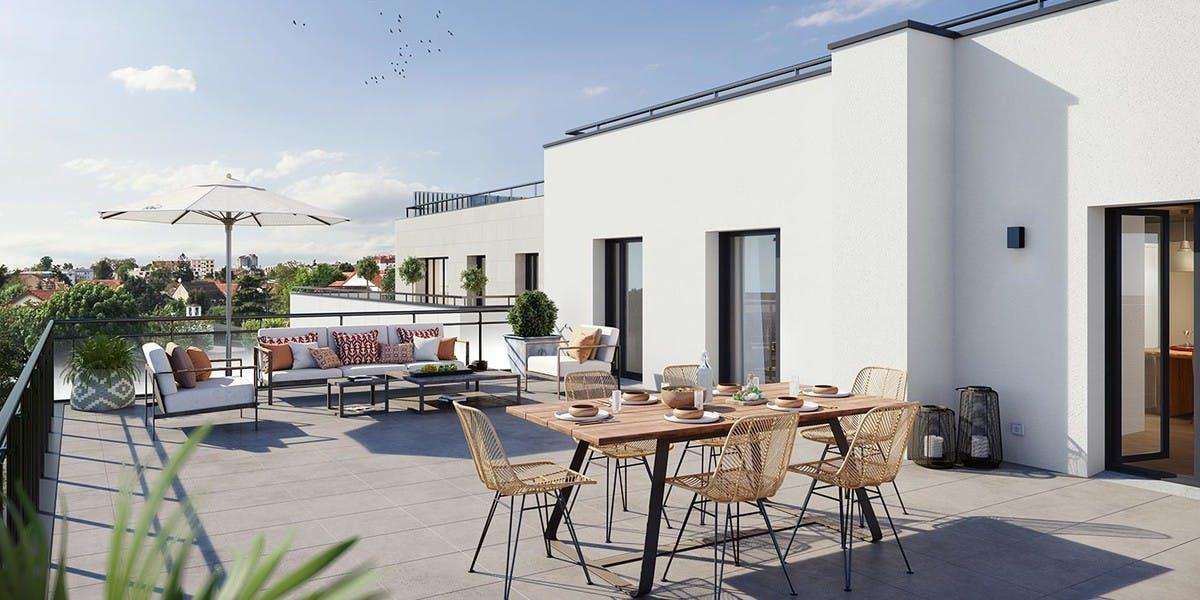 Terrasse d'un appartement du programme 60 Avenue Didier à Saint-Maur