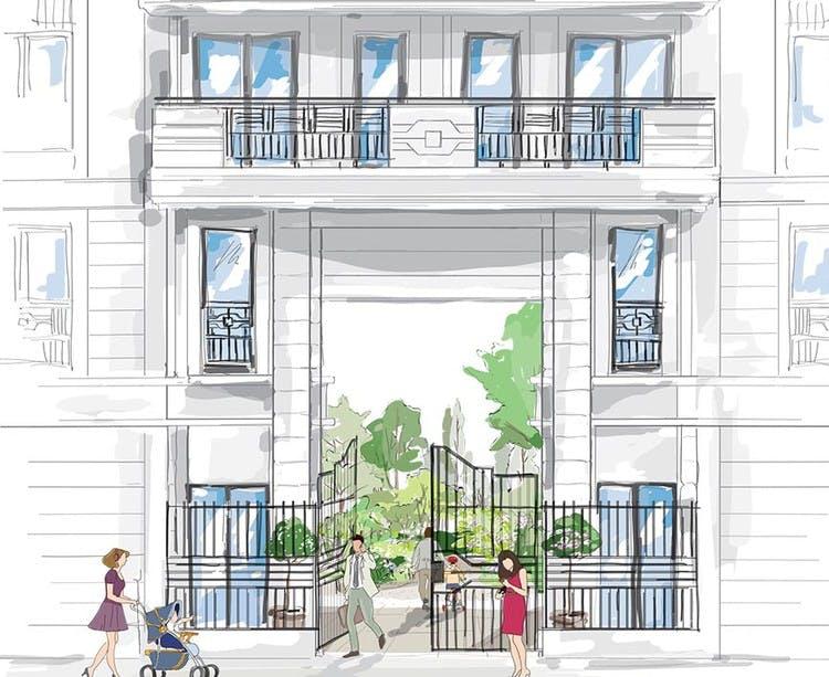 Vogue à Saint-Ouen : dessin du porche