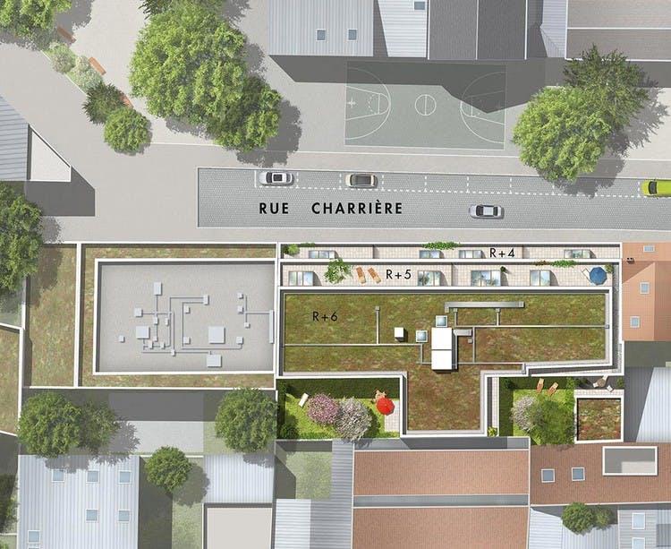 9 Charrière à Paris 11 : plan masse