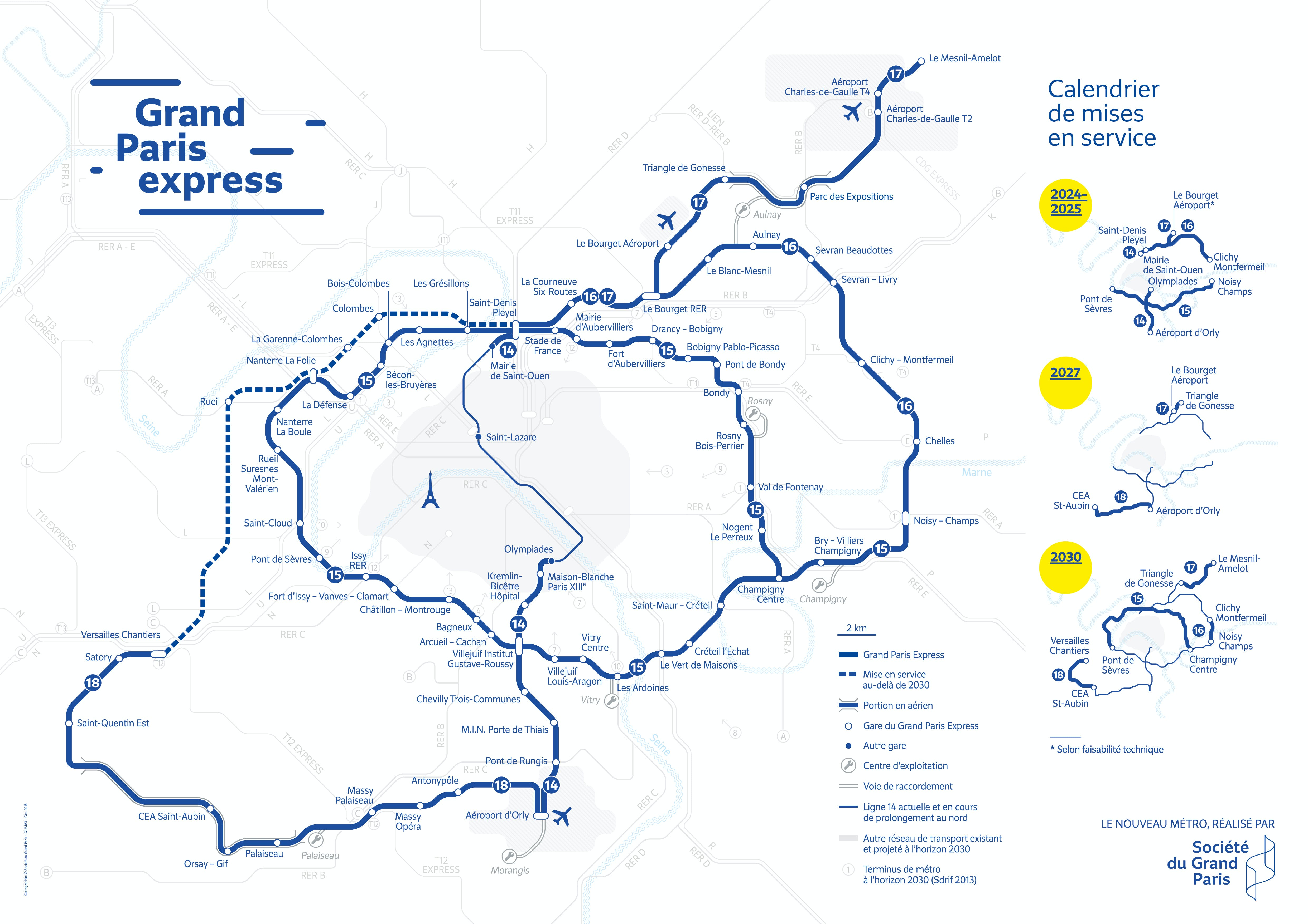Carte du Grand Paris Express - Juin 2019