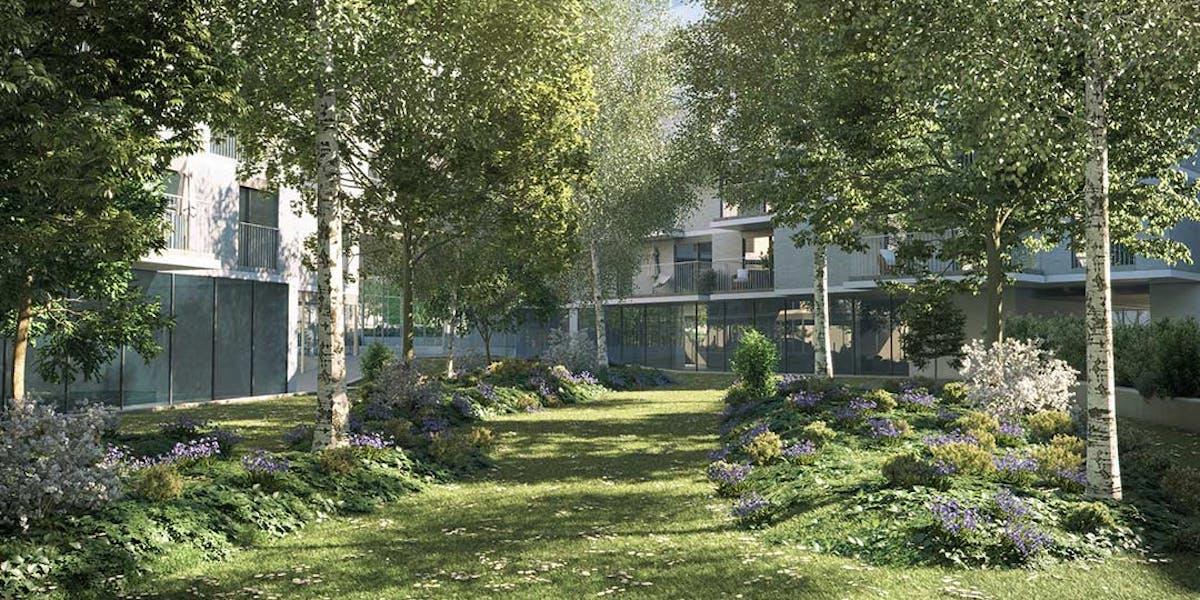 Coeur d'îlot du programme immobilier Allée du Parc à Massy