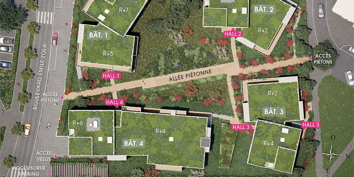Plan masse du programme immobilier neuf Allée du Colonel Fabien à Nanterre