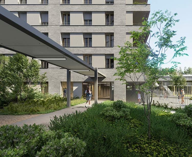 Coeur d'îlot du programme immobilier neuf Rue Claude Robert à Gennevilliers