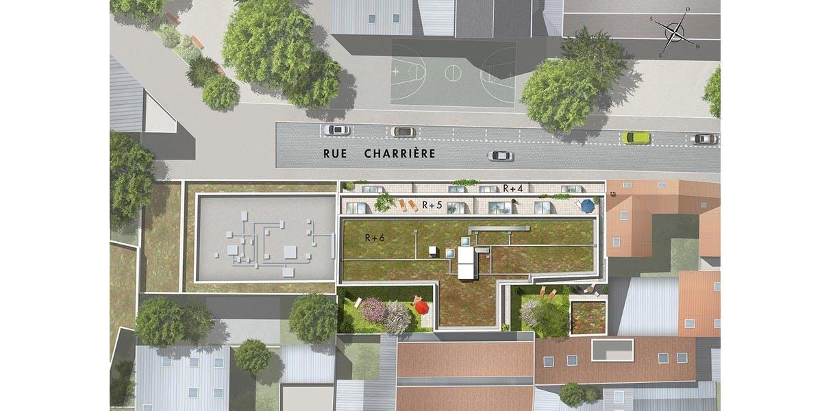 Plan masse du programme immobilier neuf 9 Charrière à Paris 11