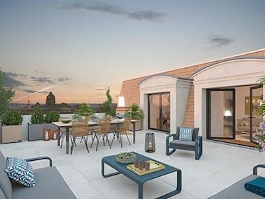 Terrasse d'un appartement neuf du programme immobilier Place du Garde à Clamart